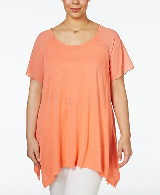 Ing Trendy Plus Size Handkerchief Hem T Shirt Tops
