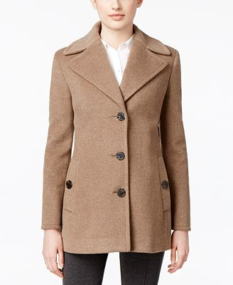 Calvin Klein Wool-Cashmere Single-Breasted Peacoat, Created for ...