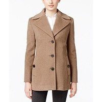 Deals on Calvin Klein Wool-Cashmere Single-Breasted Peacoat