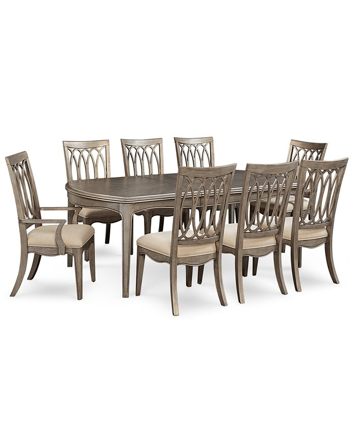 Furniture - Hayley 9-Pc. Dining Set (Dining Table, 6 Side Chairs & 2 Arm Chairs)