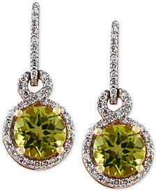 OLIVIA by EFFY® Peridot (1-5/8 ct. t.w.) and Diamond (1/4 ct. t.w.) Drop Earrings in 14k Gold