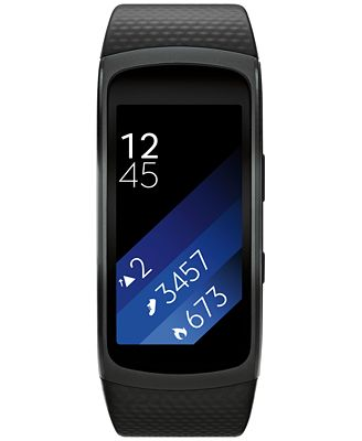 Samsung Unisex Gear Fit2 Smart Fitness Band with 25x51mm Aluminum Case & Black Sport Strap SM-R3600DANXAR