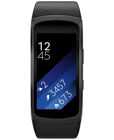 Samsung Unisex Gear Fit2 Smart Fitness Band with 25x51mm Aluminum Case & Black Sport Strap SM-R3600DANXAR