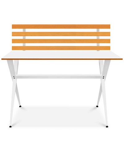 Ninna Modern Desk with Wood Slabs, Quick Ship
