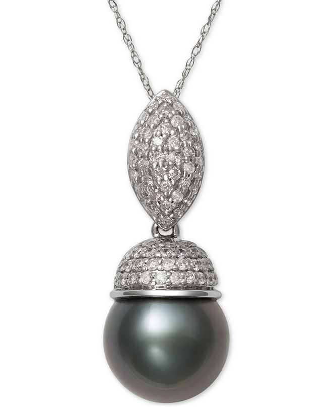 Belle de Mer Cultured Tahitian Black Pearl (9mm) and Diamond (3/8 ct. t.w.) Pendant Necklace in 14k White Gold