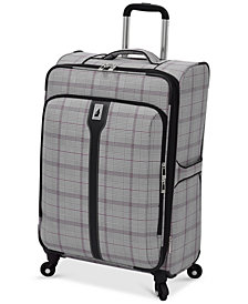 "CLOSEOUT! London Fog Knightsbridge 25"" Expandable Spinner Suitcase, Available in Brown and Grey Glen Plaid, Created for Macy's"