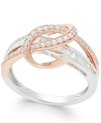 Diamond TwoTone Swirl Ring 12 ct tw in 14k Rose and White