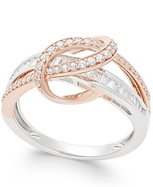 Diamond Two-Tone Swirl Ring (1/2 ct. t.w.) in 14k Rose and White Gold