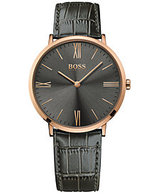 BOSS Hugo Boss Men's Jackson Gray Leather Strap Watch 40mm 1513372