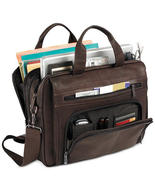 Kenneth Cole Reaction Columbian Leather Expandable Double Gusset Laptop Briefcase Backpacks Luggage Macy S