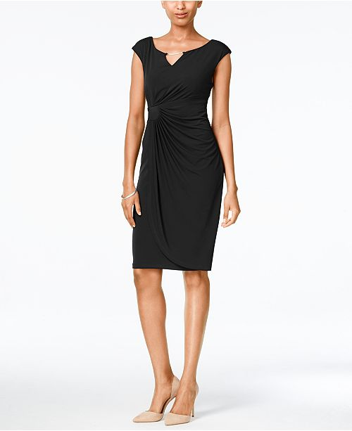 Connected Petite Chain-Link Draped Dress