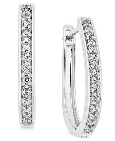 Diamond Oval Hoop Earrings (1/4 ct. t.w.) in 14k White or Yellow Gold
