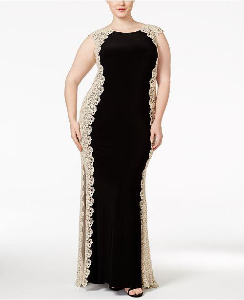 XSCAPE Plus Size Crochet Lace Column Gown & Reviews ...