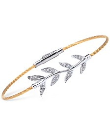 CHARRIOL Women's Laetitia White Topaz-Accent Leaves Two-Tone PVD Stainless Steel Bendable Cable Bangle Bracelet