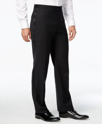 Black Solid Big and Tall Modern Fit Tuxedo Pant