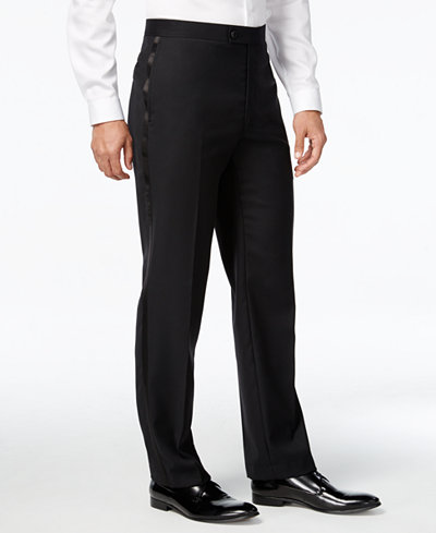 Calvin Klein Black Solid Modern Fit Tuxedo Pant