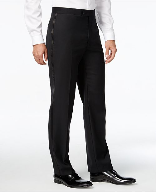 623a08373a Calvin Klein Black Solid Modern Fit Tuxedo Pant   Reviews - Pants ...