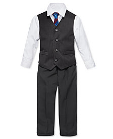 Nautica Little Boys' 4-Piece Tie, White Shirt, Pinstripe Vest, Black Pant Vest Set. Little Boys