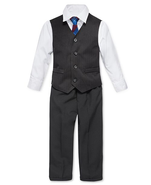 Nautica Little Boys 4 Piece Tie White Shirt Pinstripe Vest Black