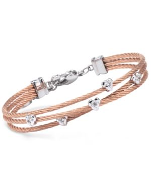 WOMEN'S MALIA WHITE TOPAZ-ACCENT TWO-TONE PVD STAINLESS STEEL CABLE BANGLE BRACELET