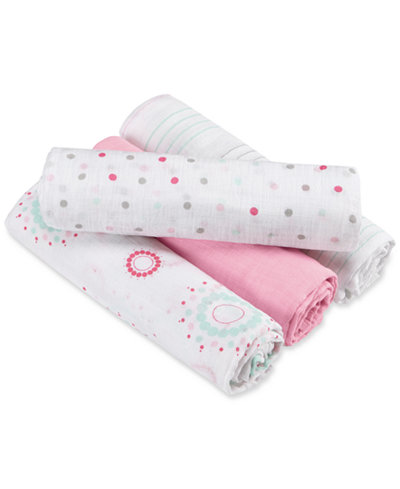 aden by aden + anais Baby Girls' 4-Pk. Swaddle Blankets