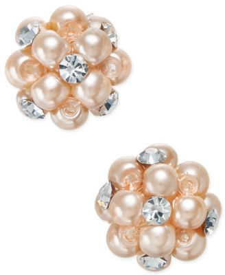 Image of Charter Club Imitation Pearl and Crystal Cluster Earrings, Only at Macy's
