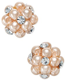 Imitation Pearl and Crystal Cluster Earrings, Created for Macy's