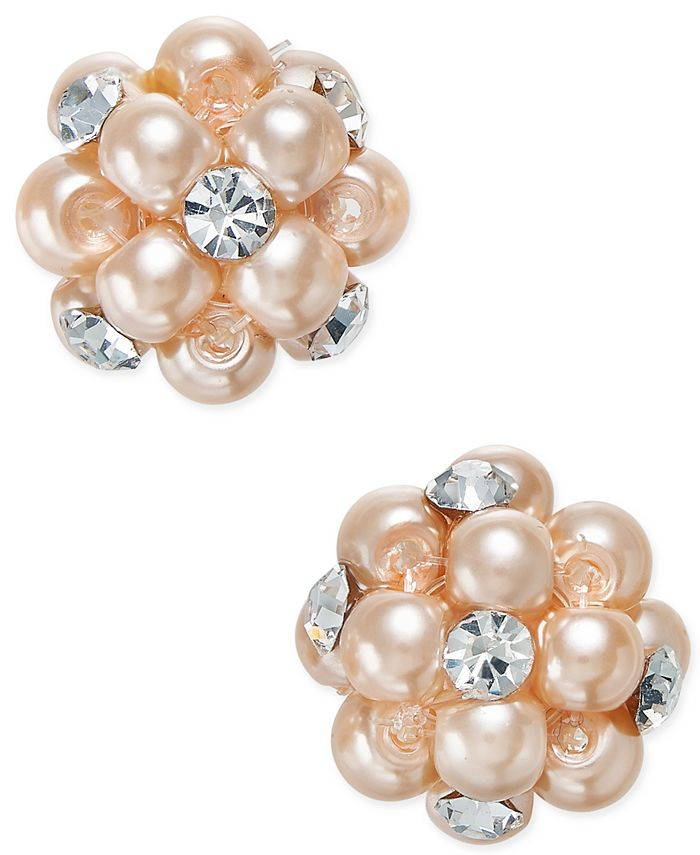 Charter Club - Silver-Tone Pink Imitation Pearl and Crystal Cluster Earrings