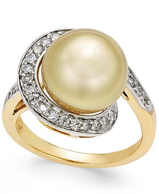 Cultured Golden South Sea Pearl (11mm) and Diamond (3/8 ct. t.w.) Swirl Ring in 14k Gold