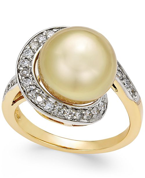 Macy's Cultured Golden South Sea Pearl (11mm) and Diamond (3/8 ct. t.w.) Swirl Ring in 14k Gold