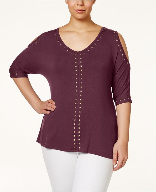8c0b62322046a Belldini Plus Size Studded Cold-Shoulder Top   Reviews - Tops ...