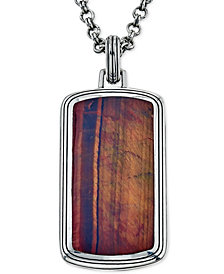 Esquire Men's Jewelry Red Tiger's Eye (34 x 28mm) Dog Tag Pendant Necklace in Sterling Silver, Created for Macy's