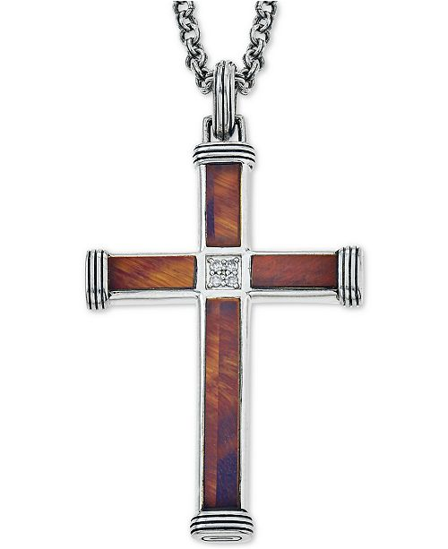 Esquire Men's Jewelry Red Tiger's Eye (22-7/8 x 3-3/4mm & 9-1/2 x 3-3/4mm) and Diamond Accent Cross Pendant Necklace in Sterling Silver, Created for Macy's