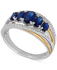 Sapphire (1-7/8 ct. t.w.) and Diamond Accent Ring in Sterling Silver and 14k Gold