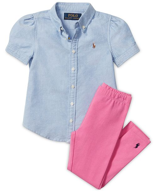 Polo Ralph Lauren Oxford Top & Pony Leggings, Little Girls, Big Girls