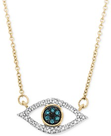 Diamond Evil-Eye Pendant Necklace (1/6 ct. t.w.) in 10k Gold or 10k White Gold, Created for Macy's