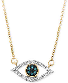 Wrapped in Love Diamond Evil-Eye Pendant Necklace (1/6 ct. t.w.) in 10k Gold, Created for Macy's