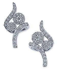 Diamond Swirl Cluster Stud Earrings (3/8 ct. t.w.) in 14k White Gold