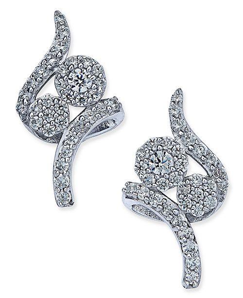 Macy's Diamond Swirl Cluster Stud Earrings (3/8 ct. t.w.) in 14k White Gold