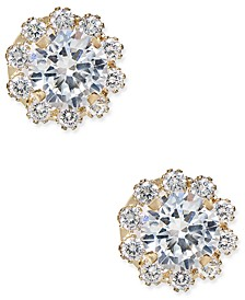 Cubic Zirconia Halo Stud Earrings in 10k Gold