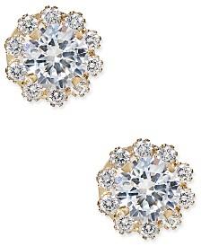 Cubic Zirconia Halo Stud Earrings in 10k Gold