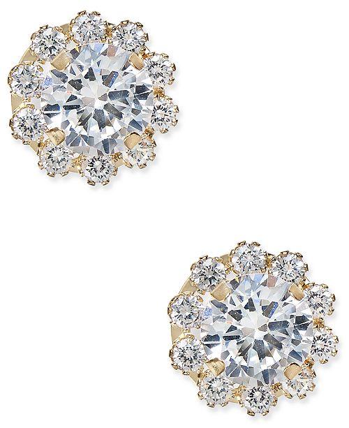 Macy's Cubic Zirconia Halo Stud Earrings in 10k Gold