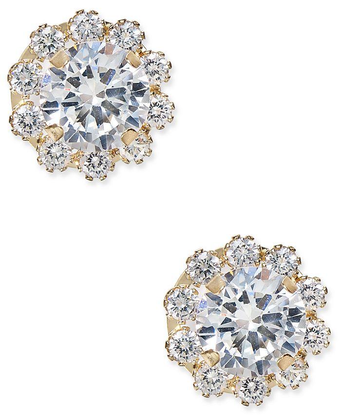 Macy's - Cubic Zirconia Halo Stud Earrings in 10k Gold