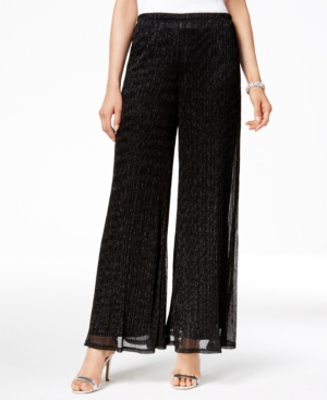 1930s Women's Pants and Beach Pajamas Msk Metallic Knit Palazzo Pants $69.00 AT vintagedancer.com