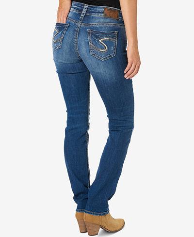 Silver Jeans Suki Medium Blue Wash Straight-Leg Jeans - Jeans ...