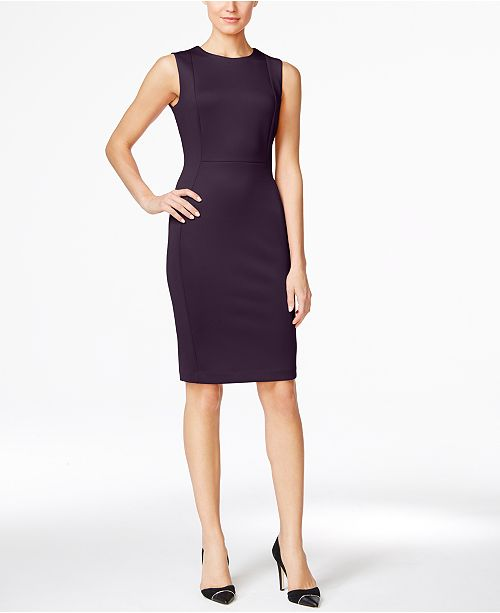 631270fe25d9c Calvin Klein Petite Scuba Crepe Sheath Dress   Reviews - Dresses ...
