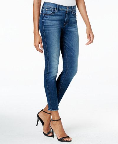 7 For All Mankind Frayed-Hem Skinny Ankle Jeans