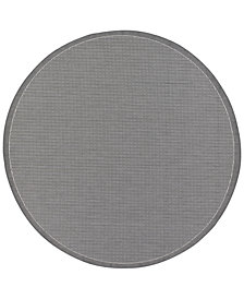 CLOSEOUT! Couristan Round Rug, Indoor/Outdoor Recife 1001/3012 Saddle Stitch Grey-White 7'6""