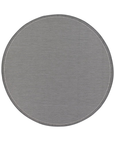 CLOSEOUT! Couristan Round Rug, Indoor/Outdoor Recife 1001/3012 Saddle Stitch Grey-White 7'6