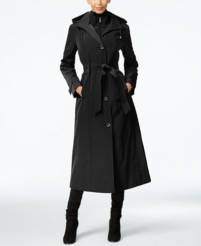 London Fog Petite Layered A-Line Maxi Trench Coat - Coats ...